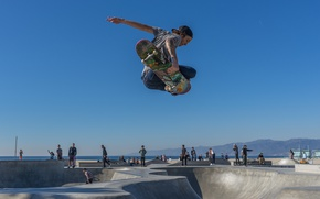 Picture summer, United States, beach, sky, sea, ocean, jump, blue, seascape, park, California, seaside, skate, skateboard, …