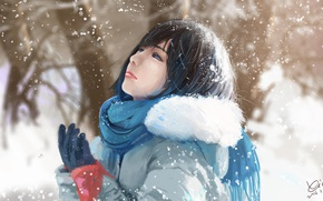 Picture winter, girl, snow, nature, art, by xichechen