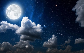 Picture the sky, stars, clouds, light, night, the moon