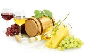 Picture bottle, barrel, wine, red, corkscrew, cheese, white, glasses, grapes, vine