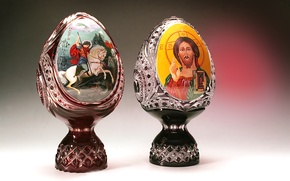 Picture glass, picture, crystal, painting, decor, Gus ' -Khrustal'nyy, George Pobedonosets, Easter egg, the Holy face