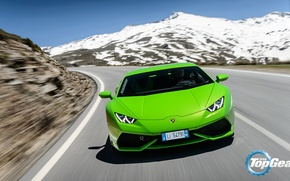 Picture Lamborghini, Top Gear, Green, Front, Supercar, Huracan, LP610-4, Mountain Road