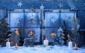Picture winter, snow, decoration, snowflakes, New Year, window, Christmas, Christmas, vintage, New Year, decoration, Happy, Merry