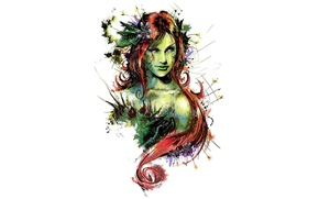 Wallpaper art, comics, redhead, dc universe, poison ivy