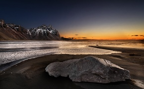 Picture sea, sunset, mountains, nature
