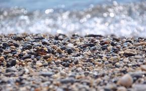 Picture water, macro, light, glare, stones, shore, wave, pebbles