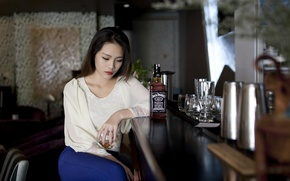 Picture look, girl, mood, bar, Asian
