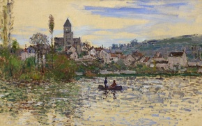Picture landscape, river, boat, picture, Claude Monet, The Seine at Vétheuil