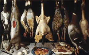 Picture picture, hunting, Thomas HEPES, Still life with Birds and Hare