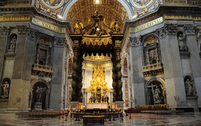 Picture Rome, Italy, St. Peter's Cathedral, the main altar