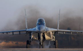 Wallpaper smoke, the MiG-29, the airfield