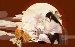 Picture flowers, bird, Naruto, Naruto, Hyuuga Neji