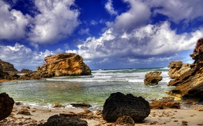 Picture sea, the sky, clouds, stones, rocks, surf