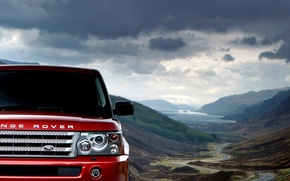 Picture the sky, clouds, mountains, Red, Land Rover, range rover sport