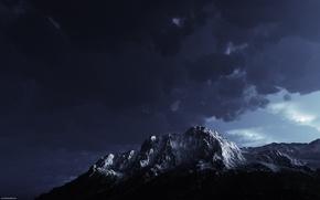 Picture night, mountain, Mount Aciyu