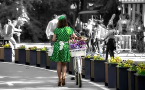 Picture girl, flowers, bike, polka dot, dress, flower fairy, prices