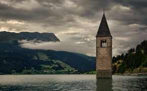 Picture tower, Italy, mountains, clouds, village, clock, countryside, bell, peaceful, church, cloudy, temple, South Tyrol, Lake …