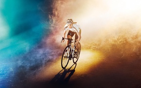 Picture road, girl, light, bike, background, color, Olympics