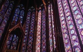 Picture Paris, glass, France, Gothic, chapel, royal, medieval, stained glass, Sainte-Chapelle, vitrage