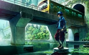 Picture bridge, river, train, fisherman, anime, art, guy, rod