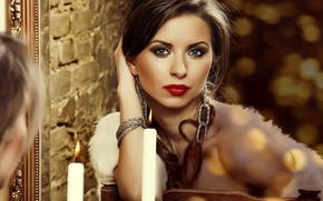 Picture reflection, candle, mirror, lipstick, brunette, lips