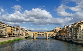 Picture the sky, bridge, river, home, Italy, panorama, Florence, The Ponte Vecchio, Arno