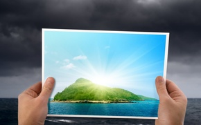 Picture sea, the sky, clouds, photo, island, hands, picture-in-picture