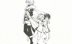 Picture children, figure, vampire, cloak, friends, military uniform, The Last Seraphim, Owari no Seraph, Yuuichirou Hyakuya, …