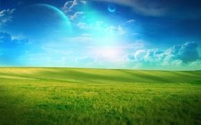 Wallpaper green, planet, field, clouds