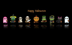 Wallpaper minimalism, holiday, background, Halloween, text, black, horror, cartoon, heroes, the inscription