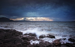 Picture sea, wave, mountains, squirt, clouds, stones