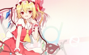 Picture wings, crystals, red eyes, cap, touhou, flandre scarlet