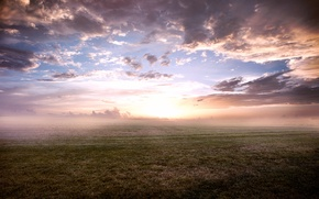 Picture the sky, grass, clouds, fog, morning