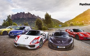 Picture Top Gear, Wallpaper, Supercars, Volkswagen Golf, Porsche 918, BMW M4, McLaren P1, Chevrolet Corvette C7