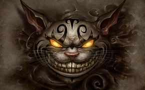 Wallpaper cat, face, piercing, tattoo, alice, madness returns, Cheshire