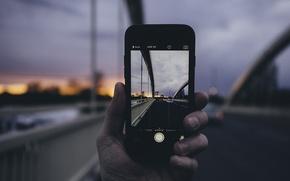 Picture clouds, landscape, sunset, bridge, photo, iPhone, hand, cars, bokeh
