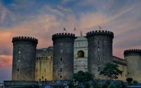 Picture tower, Italy, Naples, Castel Nuovo, new castle