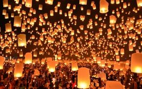 Picture Thailand, Festival, Lanterns, Floating