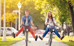 Picture girl, the city, guy, walk, bikes, happy couple on bikes