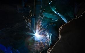 Picture metal, sparks, welder