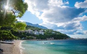 Picture sea, summer, the sun, landscape, mountains, nature, the city, stay, boat, vacation, village, Croatia, Adriatica, …