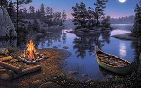 Wallpaper picture, boat, stay, reflection, romance, Kim Norlien, tourism, island, the moon, the fire, night, river