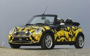 Picture car, cooper, Khokhloma, mini, hd wallpaper