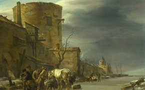 Picture landscape, picture, Nicolas Pietersz Berchem, The City Wall Of Haarlem In The Winter