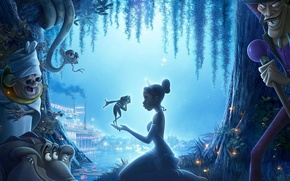 Picture night, river, cartoon, frog, tale, Princess, miracle