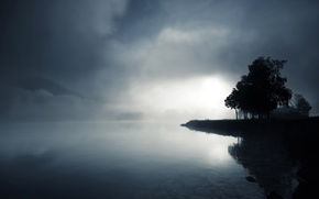 Wallpaper water, trees, fog, lake, stones, hills, twilight, black and white