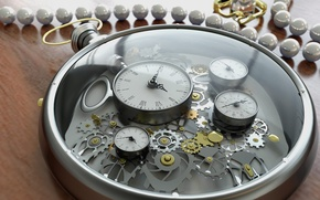 Picture glass, time, arrows, watch, figures, gear, decoration, dial, render