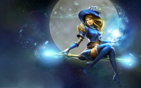 Wallpaper the sky, girl, flight, smile, magic, the moon, hat, anime, art, staff, witch