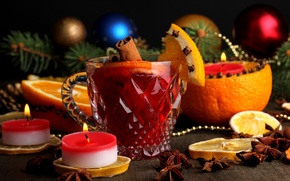 Picture winter, branches, lemon, toys, orange, candles, New Year, Christmas, Cup, drink, cinnamon, Christmas, holidays, New …