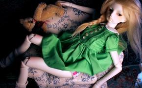 Picture chair, doll, dress, bear, red hair, doll, BJD, sedene dress